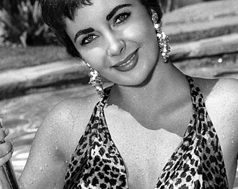 Elizabeth Taylor Film Actress Glossy Hollywood Black & White Photo Picture Print A4