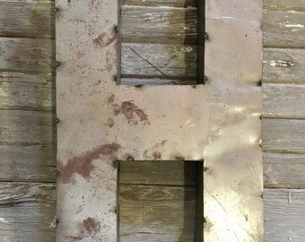 """24"""" Industrial Rustic Block Letter H Sign, Recycled Metal Letter H"""