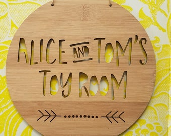 Personalised Wooden Toy Room Sign Arrow Design-wall art-bamboo-playroom-kidsdecor 19.5cm-plaque-lasercut-kids gift-present