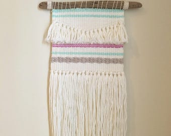 White Fringe Woven Wall Hanging