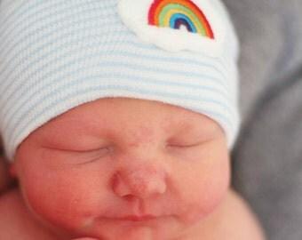 Newborn boy hospital hat- rainbow, rainbow baby, baby boy hospital hat, blue hospital hat, newborn hat, rainbow beanie, newborn boy hat