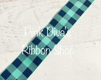 1.5 inch Tropic and Navy Plaid Ribbon -Plaid Ribbon - Navy Plaid Ribbon - USDR - USD Ribbon