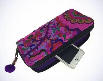 Blossom Zippered Wallet - Purple