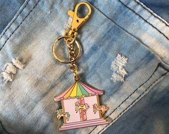 Carousel Enamel Bag Charm Keychain