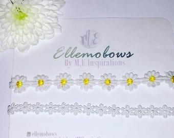 Lace daisy baby childrens headbands on skinny elastic