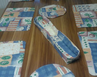 Placemat, 11tlg with bread basket, basket of baguette and salad coasters