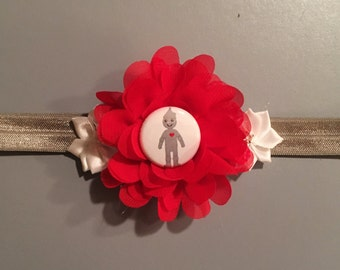 Wizard of Oz Headband,Tin Man,Baby Headband,Infant Headband,Girls Headband,Toddler Headband,Silver,Red Chiffon Flower,Handcrafted,Headband