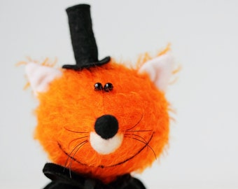 Mr Fox - Mr X  - OOAK Miniature collectible toy - Friend of Teddy Bear - Toy for Blythe - Gift!