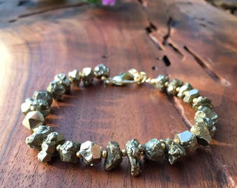 Gold Pyrite Bracelet / Natural Pyrite Bracelet / Raw Pyrite Bracelet / Druzy Pyrite Bead Bracelet / Fool's Gold Bracelet / Pyrite Jewelry