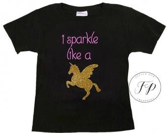 UNICORN - Glitter - I sparkle like a unicorn tshirt