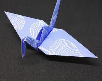 20 Origami Cranes, Blue Flowers