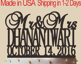 Mr & Mrs Cake Topper,Bride and Groom,Wedding Decoration, Personalized Monogram Wedding Cake Topper With date, Custom Name Cake Topper, CT008