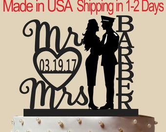 Policeman and Airline Hostess Cake Topper, Wedding Cake Topper,  Bridal Shower Topper, Wedding Decoration, Custom Name, Silhouette,  CT173