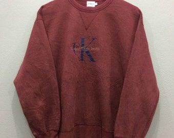 Vintage Calvin Klein Jeans Sweatshirt Crewneck Medium Size Made In Usa