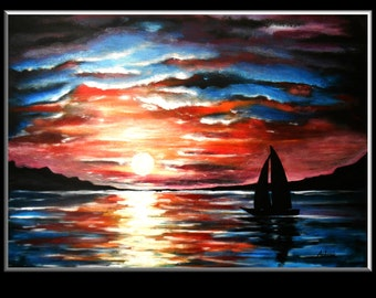Original Sunset GLOW IN DARK acrylic painting, hand made by Jakub Molacek, wall art decor for home.
