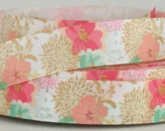"Pastel Hibiscus - Hawaiian Flowers - 7/8"" Grosgrain Ribbon"