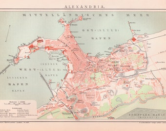 Antique Egypt Map Etsy - Map of egypt ports