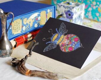Bee Greeting Card, Queen Bee Card, Bumblebee Greeting Card, Bee card, Bumble Bee blank card, Colourful Bee art, Honey Bee art card