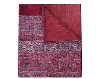 Queen Size Hand Block Print Kantha Quilt Vegetable Dye Ajrakh Kantha Blanket Handmade Throw