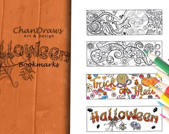 halloween bookmarks digital download to print and color - Halloween Book Marks