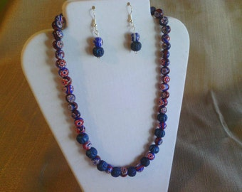 105 Colorful Lapis Blue Ceramic Beads and Red, White and Blue Milleflori Ceramic Painted Beads Beaded Necklace