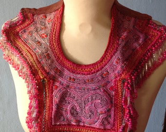 Vintage Tribal neck piece with embroidery abd full on beading