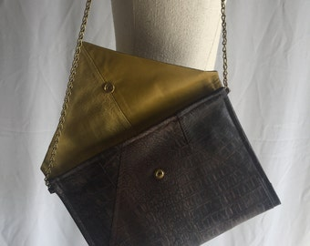 Recycled leather clutch / upcycled leather clutch / resewn leather