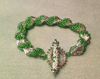 Silver & Peridot Spiral Shell Bracelet