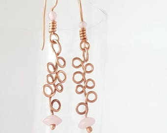 Copper earrings, dangle earrings, copper and pink earrings
