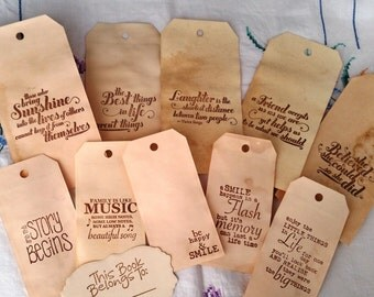 10 Stamped Sentiment Coffee Stained Journal Tags
