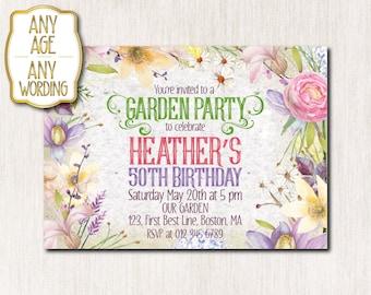 Garden party invitation, Flower birthday invitation, Summer birthday invitation, Spring Birthday party invitation, ANY AGE - 1641