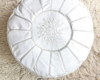 Moroccan pouf, Natural leather pouf, Handmade pouf, Embroidered pouf, White pouf LP1