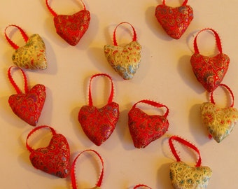 Lot of Silk Hearts Red and Gold Hanging Ribbon   (751)