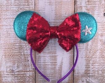 Mermaid Ears, Minnie Ears, Ariel Headband, Girls Birthday Headband