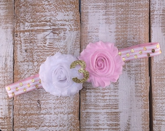 3rd Birthday Headband, Pink & Sparkly Gold Birthday, Shabby Chic, Photo Prop, Cake Smash