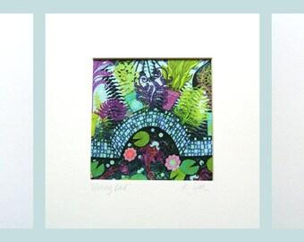 Wishing Pond Set of 3 Silk Art Prints