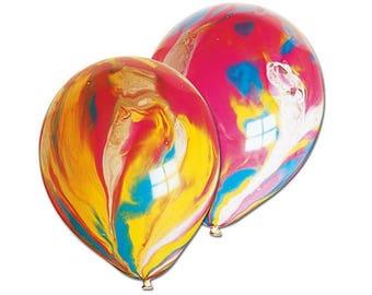 "Rainbow Marble Balloons 12"" x 6   Rainbow Party   Childrens Party Balloons   Marble Agate Balloons"
