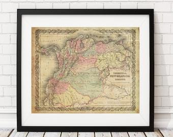 New Granada Map, Vintage Map Art, Antique Map Print, Wall Art, History Gift, Venezuela Map, Ecuador Map, Panama, Colombia, Old Maps,