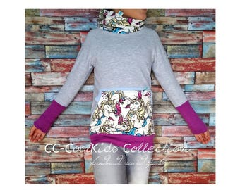 Wrap collar Hoodie sweater vintage unicorns MS01