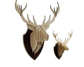 XL Wooden Deer Head Trophy Birch Wood Deer Head Wood Wall Art Home Decor Animal Art
