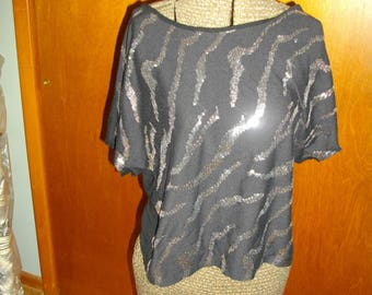 Vintage See Through Thin Black and Silver Sequin Top T Shirt