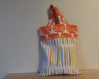 cat fabric bag inside pocket,bright and colourful,  100% cotton, contrast fabric