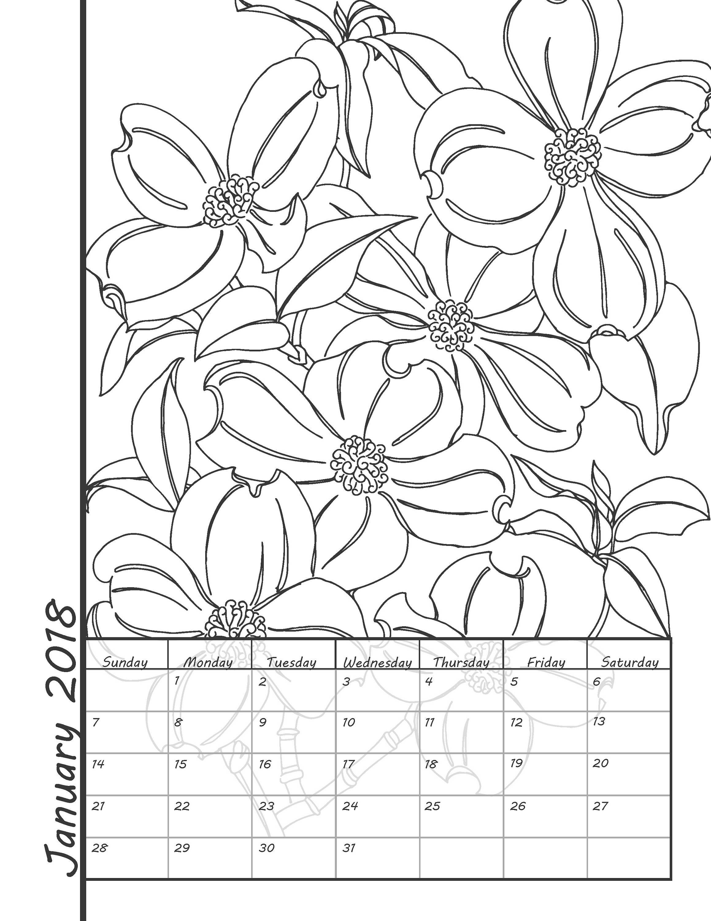 Printable Coloring Calendar 2018 Calendar Instant Download Coloring Pages 2018