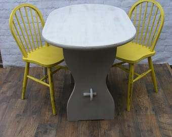 Shabby Chic Pine Table and Spindle Back Chairs Upcycled in grey and yellow