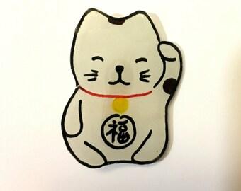 Handmade Shrinky Dink Lucky Cat pin