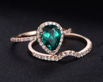 13ct pear cut treated emerald engagement ring set14k rose gold diamond wedding band - Emerald Wedding Ring