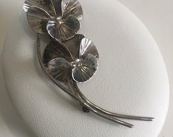 Vintage Sterling Silver Stuart Nye Vintage Pansy Pin Brooch