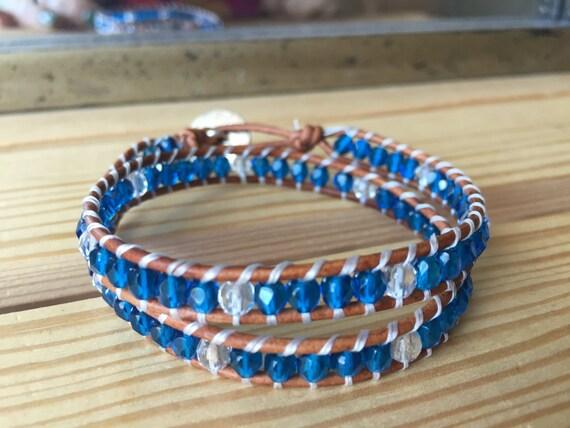 Aqua blue, double wrap bracelet, Czech crystal beads, gift, Christmas, friendship, wedding, bridesmaid