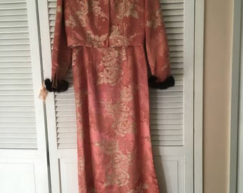 VINTAGE 1960's Asian Brocade Maxi Dress With Fur lined Jacket Sz Small