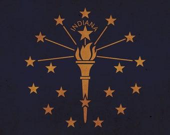 Vintage Indiana Flag on Canvas, Indiana, Flag, Wall Art, Indiana Photo, Indiana flag on canvas, Flag, Single or Multiple Panels Indiana flag